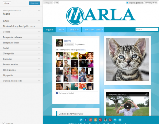 Personalizar Marla — WordPress